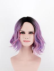 abordables -Pelucas sintéticas Ondulado Rosa Pelo sintético Raya en medio Rosa Peluca Mujer Corta Sin Tapa