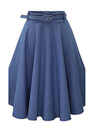 cheap -Women's Street chic A Line Skirts - Solid Colored