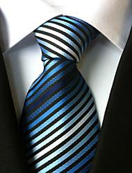 cheap -Men's All Polyster Necktie, Neckwear Stripes Striped All Seasons Light Blue