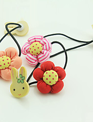 cheap -Pumpkin Flower Wooden Rabbit Double - headed Hair Ornament Korean Version of Children 's Hair Accessories 10pcs