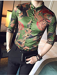 cheap -Men's Casual Plus Size Silk Shirt - Multi Color, Print Button Down Collar