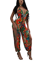 Women's Daily Club Holiday Vintage Sexy Boho Print Color Block Halter Jumpsuits,Slim Sleeveless Spring Summer Polyster