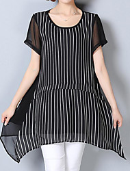 cheap -Women's Daily Work Plus Size Casual Street chic Sophisticated Summer Blouse,Striped Round Neck Short Sleeves Polyester Thin Medium