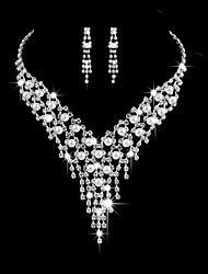 cheap -Women's AAA Cubic Zirconia Jewelry Set - Cubic Zirconia, Silver Fashion, Elegant Include Drop Earrings / Choker Necklace / Bridal Jewelry