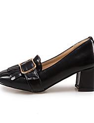 Women's Heels Comfort Light Soles Patent Leather Spring Casual Outdoor Office & Career Comfort Light Soles Buckle Chunky HeelScreen Color