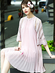 BLUEOXY Women's Party Going out Casual/Daily Loose DressSolid Round Neck Knee-length Half Sleeve Polyester Summer Mid Rise Inelastic Thin