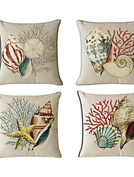 cheap -4 pcs Cotton / Linen Pillow Cover / Pillow Case, Novelty / Fashion / Printing Vintage / Casual / Retro