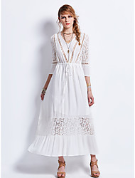 SHE'SWomen's Holiday Casual/Daily Boho Street chic Swing DressEmbroidery V Neck Knee-length Half-Sleeve Cotton Blend Spring Summer Mid Rise