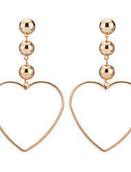 cheap -Hot Fashion Simple Elegant Charm Plated Gold/Silver Hollow Heart Pendant Earrings For Women Dangle Long Earrings Jewelry Accessories Gift Bijouterie