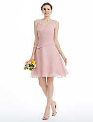 cheap -A-Line V Neck Knee Length Chiffon Bridesmaid Dress with Side-Draped by LAN TING BRIDE®