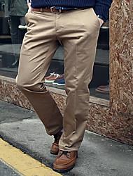 Homme simple Taille Normale non élastique Costume / Tailleur Chino Pantalon,Droite Mince Couleur unie
