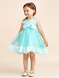 Princezna krátké / mini květina dívčí šaty - polyester tyle bez rukávů lopatka krk s lukem (y)