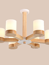 cheap -LightMyself 6 Lights Glass Chandelier Modern/Contemporary Traditional/Classic Vintage Country Wood Feature for Living Room Bedroom Dining Room