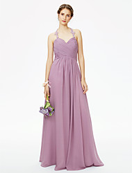 cheap -A-Line Halter Floor Length Chiffon Corded Lace Bridesmaid Dress with Appliques Criss-Cross Pleats Ruched by LAN TING BRIDE®