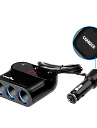 Rocketek car-charger 2 USB Smart IC 3.1A car charger 3 Sockets Cigarette Lighter Adapter Splitter for Meter measuring car volt CC32