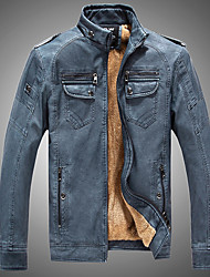 Men's Daily Vintage Winter Fall Leather Jacket,Solid Stand Long Sleeve Regular