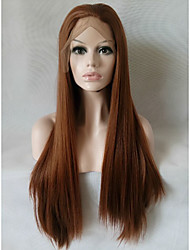 cheap -Synthetic Lace Front Wig Straight Brown Women's Lace Front Natural Wigs Medium Long Synthetic Hair