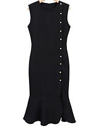 abordables -Mujer Tallas Grandes Noche Vaina Vestido Un Color Midi Negro