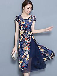 Women's Plus Size Going out Street chic Sheath Dress,Floral Round Neck Midi Short Sleeve Nylon Summer Mid Rise Micro-elastic Medium