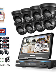 cheap -SANNCE® 8CH 8PCS 720P LCD DVR Weatherproof Home Surveillance Security System Supported Analog AHD TVI IP Camera