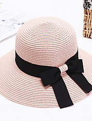 cheap -Straw Hat Womens' Bow Sun Hat Summer Folding Color Block Outdoor Tourism Beach Wide Brim Hat Peaked Cap