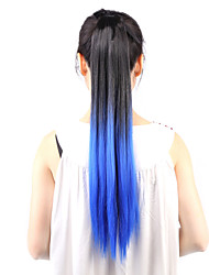 cheap -Neitsi 1Pcs 22'' 115g Striaght Wrap Around Ponytail Hair Extensions Synthetic Ombre T-Blue#
