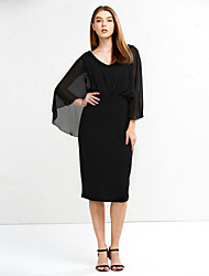 Women's Ruffle Plus Size / Casual/Daily Vintage / Sophisticated Bodycon DressSolid V Neck Knee-length Sleeve Lace Dress