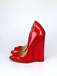 cheap -Women's Shoes PU(Polyurethane) Spring / Fall Basic Pump Heels Wedge Heel Round Toe / Peep Toe Black / Red / Burgundy / Party & Evening
