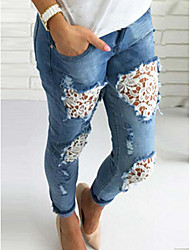 Women's High Rise strenchy Loose Jeans Pants,Boho Loose Jeans Solid