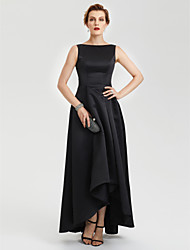 A-Line Boat Neck Asymmetrical Satin Evening Party Formal Dress with Pleats by TS Couture®
