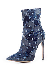 Women's Shoes Fabric Summer Fall Fashion Boots Boots Pointed Toe For Casual Dark Blue Light Blue