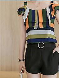preiswerte -Damen Bluse - Gestreift Textur, Stilvoll Gurt Hohe Hüfthöhe Rock
