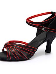 Da donna Balli latino-americani Seta Sandali Per interni Tacco su misura Nero/Rosso Personalizzabile