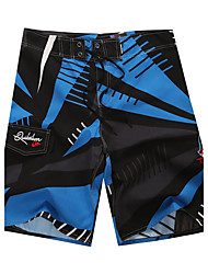 Men's Quick-Drying Breathable Bottoms Print Beach/Swim Shorts Polyester Summer Blue
