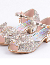 cheap -Girls' Shoes Leatherette Summer Fall Flower Girl Shoes Comfort Flats Sequin for Casual Dress Gold Silver Blue Pink
