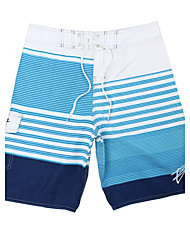 Men's Quick-Drying Breathable Bottoms Striped Print Beach/Swim Shorts Polyester Summer Blue/Green/Orange