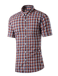 Hot Sale High Quality Men's Plus Size Casual Summer ShirtStriped Print Plaid Peter Pan Collar Short Sleeve Cotton  Lycra in USA Sizes