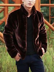 Недорогие -Муж. Повседневные выходные Зима Обычная Пальто с мехом Воротник-стойка, Простой На каждый день Однотонный Лисий Мех
