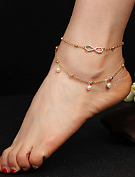 cheap -Charm Silver Women's Boho Summer Pearl Anklet Leg Chain Wing Foot Chain Jewelry