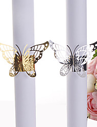 cheap -40pcs Party Favors Wedding Napkin Holder Laser Cut Golden And Sliver Butterfly Napkin Ring Paper Napkin Ring For Wedding Decoration Party Supplies