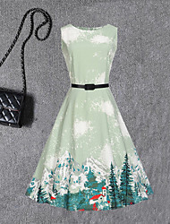 Robe Fille de Mode Imprimé Coton Mélange polyester/coton Eté Sans Manches
