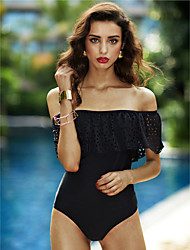 cheap -Women's Solid Solid Ruffle One-piece Swimwear Black