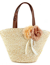 Women Bags All Seasons Straw Shoulder Bag Flower for Casual Outdoor Office & Career White