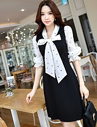 DABUWAWA Women's Party Holiday Going out Casual/Daily Work Simple Cute Sophisticated Sheath Black and White DressPolka Dot V Neck Above KneeHalf