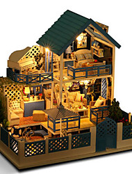 DIY KIT Dollhouse Light Up Toys Toys House Villa Natural Wood Romantic Pieces Not Specified Birthday Gift
