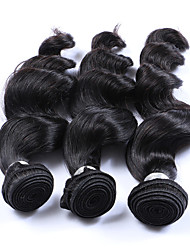Silky Smooth 3 Bundles 300g Brazilian Virgin Human Hair Wefts 100% Unprocessed Natural Black Hair 130% Density Loose Wave Human Hair Weaves/Extensions