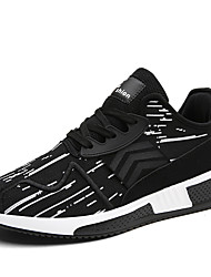 cheap -Men's Sneakers Comfort Fall Winter Knit Athletic Casual Outdoor Lace-up Flat Heel Black Black/White Black/Red Flat
