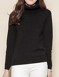 Standard Pullover Da donna-Casual Romantico Tinta unita A collo alto Manica lunga Cashmere Primavera Spesso Media elasticità