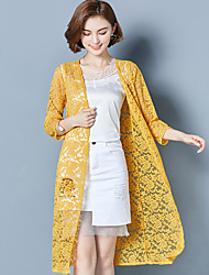 cheap -Women's Casual Office & Career Casual Summer Fall/Autumn Jacket,Solid V Neck 3/4 Length Sleeve Long Polyester Lace