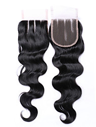 cheap -8 Inches 4*4 Lace Top Closure 100% Brazilian Human Hair Factory Wholesale Top Selling #1B Natural Black Body Wave Hair Closure 1 Pcs